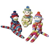 Tiny Striped Sock Monkey Doll