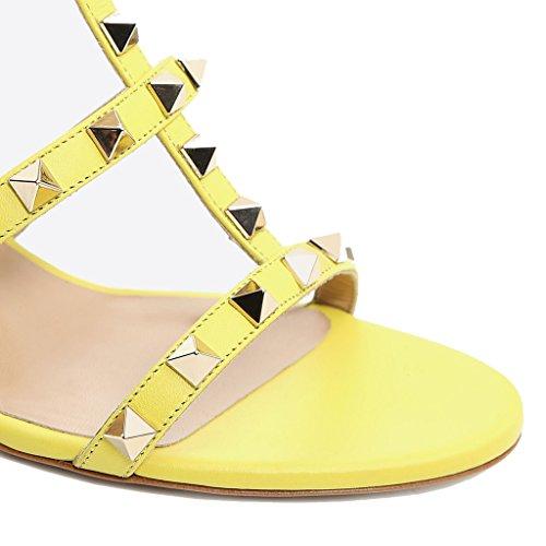 alto alto Col aperta e Donna Sandali Paio Pantofola Donna Pu 1 Con Con Sandali Jushee Yellow Sandali MRB02 da Scarpe Ciabatte Tacco Punta Tacco HvZS8qO