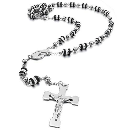 99a31de069a9 MunkiMix Acero Inoxidable Plástico Caucho Colgante Collar El Tono De Plata  Negro Jesús Cristo Crucifijo Cruzar