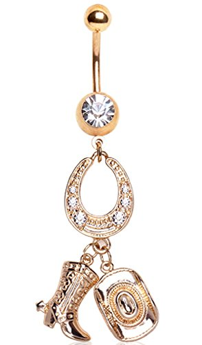 Body Accentz Belly Button Ring Navel 14g Gold Plated horseshoe Cowgirl Cowboy boot Hat ()