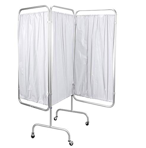 (Medical Privacy Screen Curtain Panels 3 Room Divider Folding Partition Rolling Portable Wheels Hospital Care)