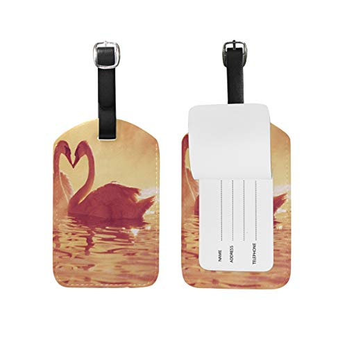 FunnyCustom Luggage Tags Swans Couple Heart Travel ID Identifier for People by FunnyCustom