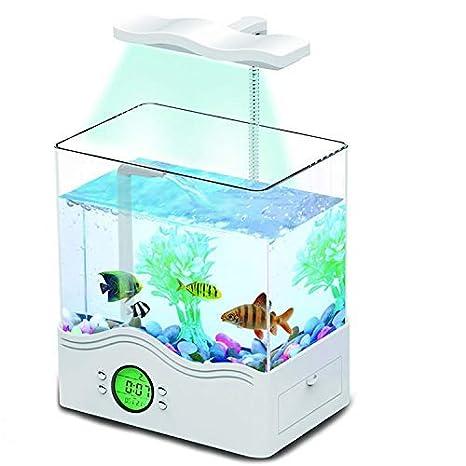 Mini Tanque De Peces Ornamentales Acuario Ecológico Multifuncional Tanque De Peces USB Iluminación De Lámpara De Mesa Clear Turtle Box,White: Amazon.es: ...