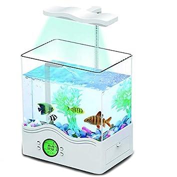 Mini Tanque De Peces Ornamentales Acuario Ecológico Multifuncional Tanque De Peces USB Iluminación De Lámpara De Mesa Clear Turtle Box,White: Amazon. es: ...