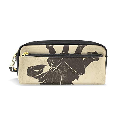 ColourLife Pen Pencil Case Vintage Halloween Zombie Hand Leather Zipper Pouch Bag Makeup Cosmetic Bag Pencil Holder