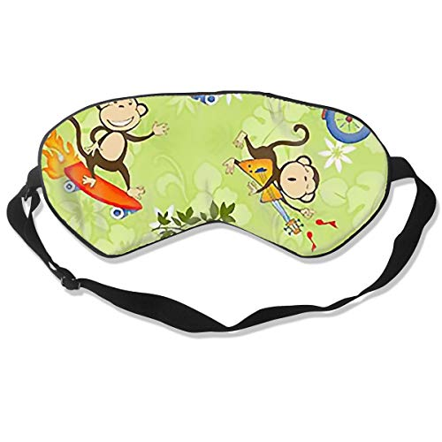 Sleep Eye Mask for Shift Work Monkey Skateboard Giutar Airport Headache Relief for Men Light Blocking Eye Cover Shade Relaxer Soft -