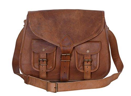 se Woman Small Messenger Bag Leather Vintage Mini Shoulder Bag with Adjustable Strap for Hiking/Shopping/Travel SKULL (brown) (Leaher Bag)