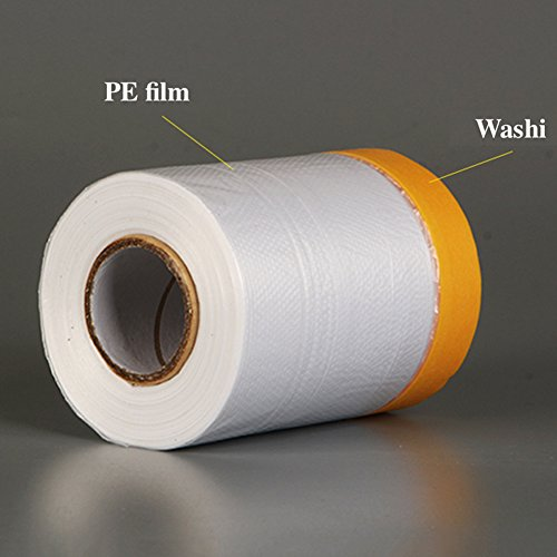 Painting Protection Cover,20M Pre Taped Masking Film Tape Roll Self Adhesive Floor Carpet Protection Film Sheet(20m×110cm) (Pre Mask Tape)