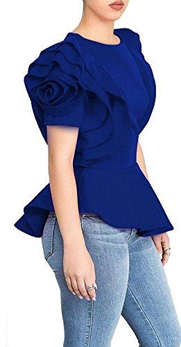 Blansdi Women Round Neck Ruffle Short Sleeve Peplum Bodycon Blouse Shirts Tops Blue XLarge, US L