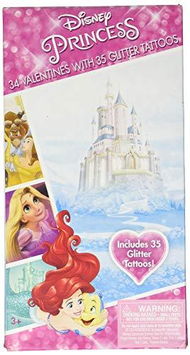 Disney Princesses Valentines 34 Cards with Tattoos Deluxe - Ariel Rapunzel Cinderella Snow White Belle Aurora Tiana