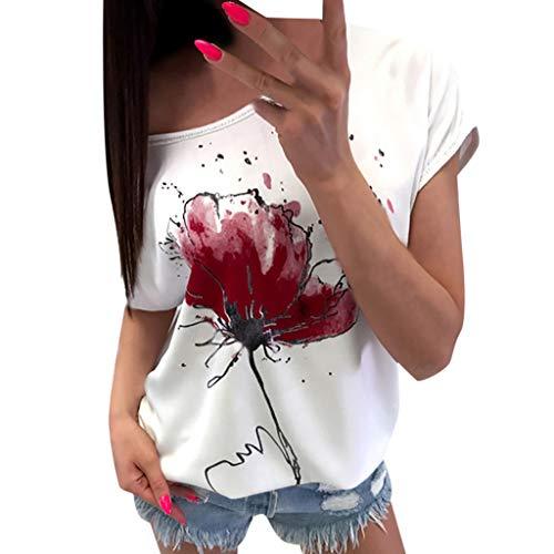 NCCIYAZ Womens Tee T-Shirt Flower Print Short Sleeve Casual Floral Short Sleeve Loose Top Ladies Blouse(L(8),Wine)