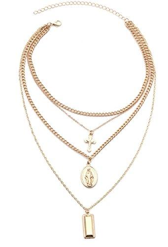 SUNSCSC Multilayer Choker Statement Bib Necklace for Women Girl Set Cross Long Chain Crystal Drop Pendant (W712A)