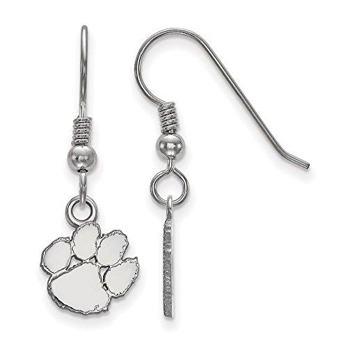 Jewelry Stores Network Clemson University Tigers School Mascot Logo Dangle Earrings in Sterling Silver XS - (10 mm x 10 mm) ()