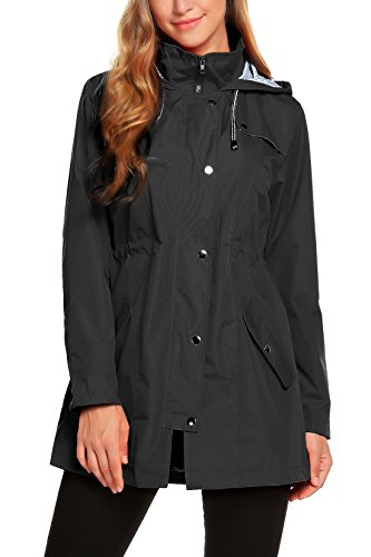ZHENWEI Rain Jacket Women Waterproof with Hood Lightweight Raincoat Outdoor Windbreaker Black - Lightweight Waterproof Jackets