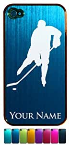 Engraved Aluminum iPhone 4/4S Case/Cover - ICE HOCKEY PLAYER - Personalized for FREE (Click the CONTACT SELLER link after purchase to tell us your case color and engraving request)