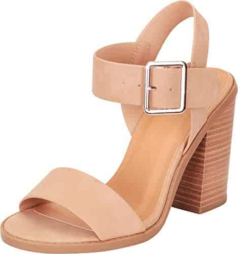 16f41a32a6f Cambridge Select Women s Open Toe Slingback Chunky Stacked Block Heel Sandal