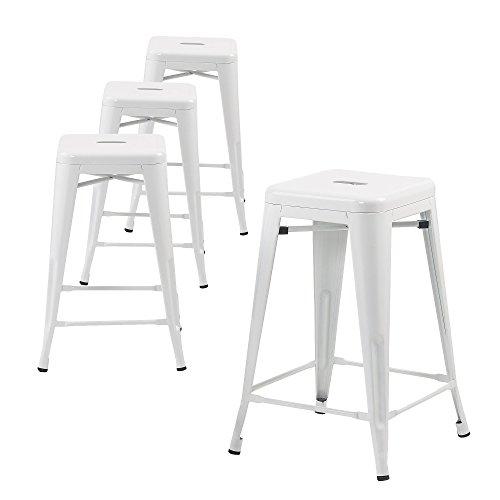 """Buschman Counter Height Metal Barstools, Indoor/Outdoor, Stackable, 24"""" H, White, Set of 4"""