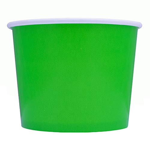 Green Easter Paper Ice Cream Cups - 12 oz Disposable Dessert Bowls - Perfect For Your Yummy Foods! Many Colors & Sizes - Frozen Dessert Supplies - Fast Shipping! 50 Count
