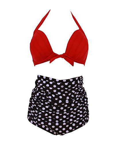 HaiCoo Retro Polka Dot Womans Bikini Padded Halter High Waist Swimsuit PD RTBK3, XL(US 8 10), Red Top&Black Bottom