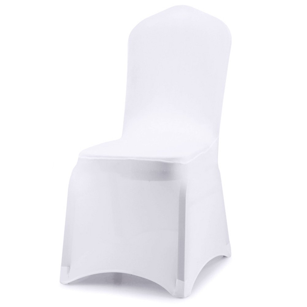 Acelectronic Set of 10 PCS White Color Polyester Spandex Chair Covers,Modern Thickening Stretchy Slipcover for Wedding Banquet Anniversary Party Home Decoration - Flat Front