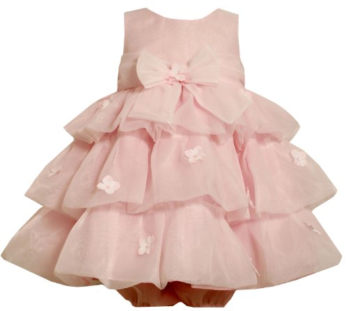 Bonnie Jean Baby/INFANT 12M-24M 2-Piece PINK SEQUIN FLOWER MULTI TIERED ORGANZA Special Occasion Wedding Flower Girl Easter Party Dress