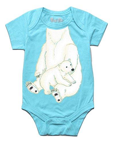 Peek-A-Zoo Infant Baby Become an Animal Short Sleeve Onesie Bodysuit - Polar Bear Carribbean Blue (12/18 Months) -