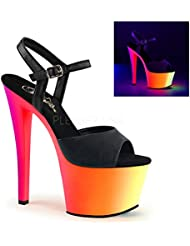 Pleaser RAINBOW-309UV Multi Colors 7 Heel Platform Sandal. Blk/Faux