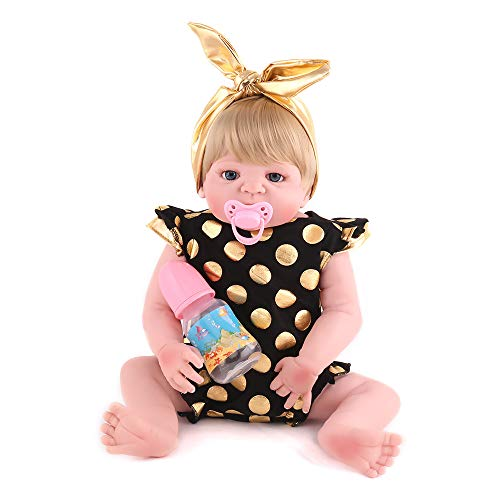 PEACE BIRD Realistic Reborn Baby Dolls with Clothes,Gold Mohair Soft Vinyl Silicone 22