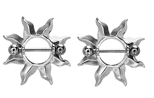 Sun Burst Flames Nipple Shields Rings Barbell Barbells 14g 316L Stainless Steel - Sold as a Pair - Steel Flames Shield