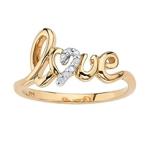 White Diamond Accent 18k Gold over .925 Sterling Silver Love Ring