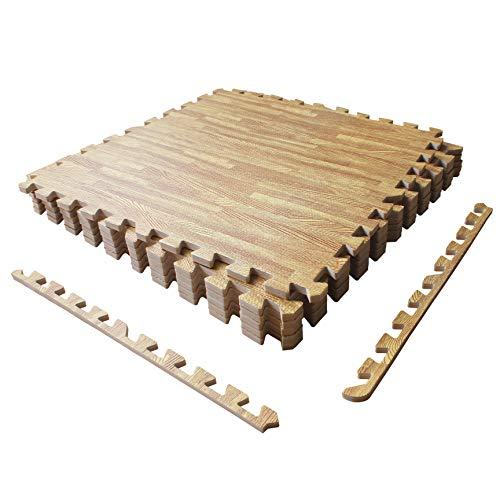 "LaFamille Extra Thick Wood Grain Floor Mat 1/2"", 6 Tiles 24 sq ft Foam Interlocking Puzzle Wood Mat for Kids, Gym, Basement 2"