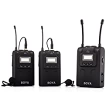 BOYA BY-WM8 UHF Dual-Channel Wireless Lavalier Microphone System for Interviews ENG/EFP DSLR Video