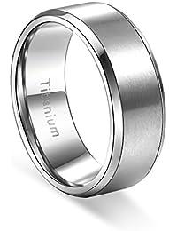 Titanium Ring Brushed Matte Men's Wedding Band Comfort...