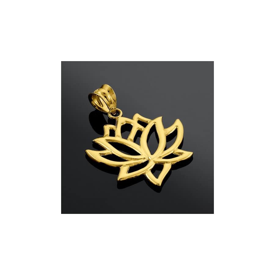 10k Yellow Gold Lotus Flower Pendant