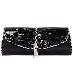 JNB Women's Zip-Trim Evening Clutch, Metallic Black