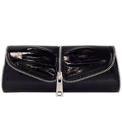 jnb-womens-zip-trim-evening-clutch-metallic-black