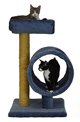 Molly and Friends MF-34-blue Two-Tier Scratching Post Furniture, Blue - Molly And Friends Wood Tunnel