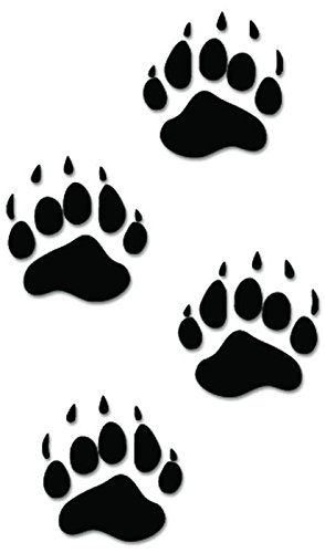 Black Bear Paw Prints - Black Bear Paws Print Tracks Hunting Vinyl Decal Sticker For Vehicle Car Truck Window Bumper Wall Decor - [6 inch/15 cm Tall] - Gloss BLACK Color