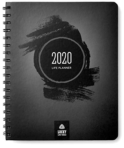 Life Planner 2020: Goal Setter + Daily/Weekly, Monthly, yearly Agenda, Calendar, and Journal, by Lucky Life Tools (Black Brush)