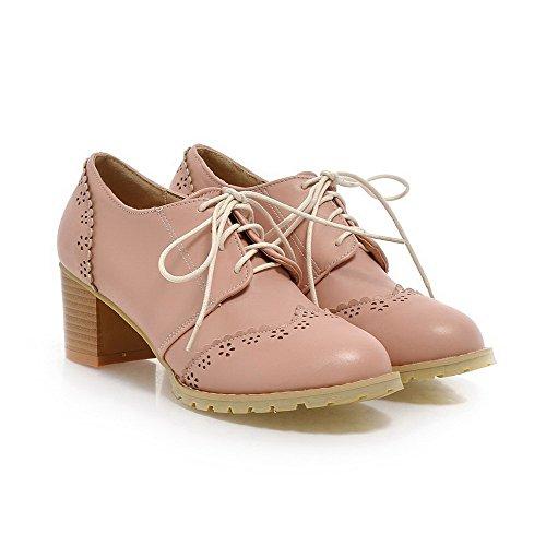 Allhqfashion Donna Materiale Morbido Allacciatura Tacco Chiuso Tacchi Alti Scarpe-tacco Rosa Scarpe-rosa
