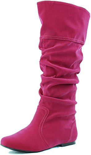 Slouchy Women's Fuchsia Qupid Basic Leatherette Flat Boot Neo144 Knee Cognac High Velvet UqdIdxf