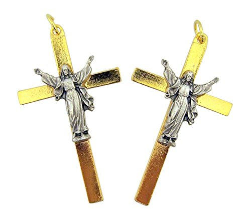 Gold Toned Base Cross with Silver Toned Risen Corpus Crucifix Pendant, Set of 2, 2 1/8 Inch ()
