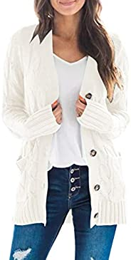 MEROKEETY Women's Long Sleeve Cable Knit Sweater Open Front Cardigan Button Loose Outer