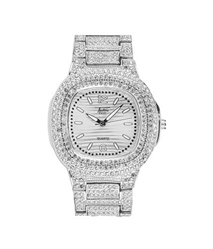 Mens Bling-ed Out Rounded Square Watch with Silver Dial and Simulated Lab Diamonds