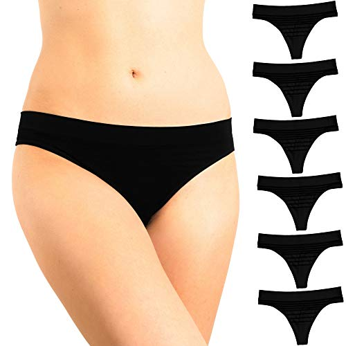 Alyce Intimates Seamless No Show Womens Thong, All Black Pack of 6