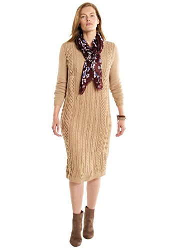 Rib Sweater Dress (Woman Within Women's Plus Size Cable Knit Sweater Dress Almond Taupe Heather,1X)
