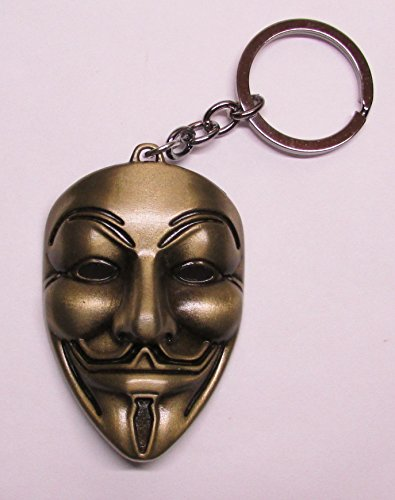 ANONYMOUS Guy MASK V for Vendetta Bronze Color Metal KEY CHAIN Ring Keychain NEW