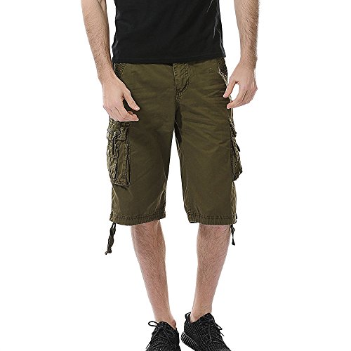Seaintheson Men's Cargo Shorts,Casual Pure Color Bermuda Pants Sports Trouser Multi Pocket Overalls Shorts Army Green ()