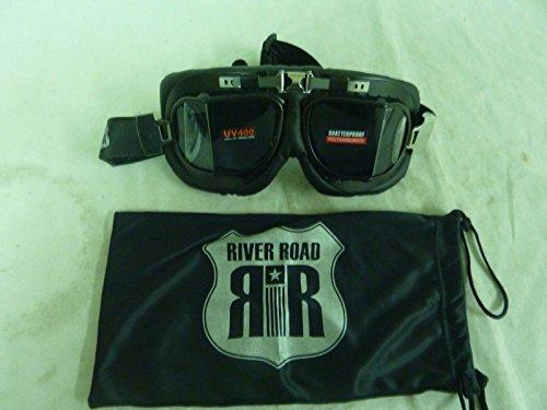 River Road Baron Aviator Goggles Smoke Lens w/ Black Trim