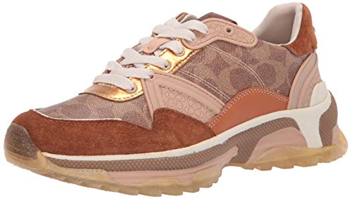 COACH G3015 C143 Runner Sneakers TAN/Saddle Size 6.5